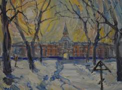 Монастырский двор зимой. Автор: В.А. Петров-Гринев