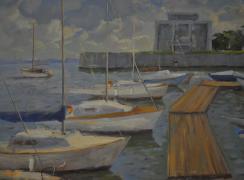 Стрельна. Яхт-клуб. Солнечные облака. Автор: И.П. Баклушин
