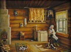 Тихая жизнь и уют в избе. Автор: И.С. Роллер